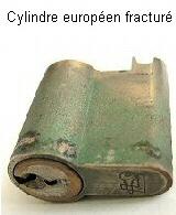 Poignée Et Cylindres Arrachés Cylindre Européen Fracturé .